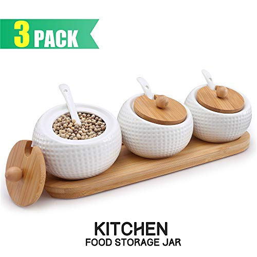 Ceramic Condiment Pots Spice Jars Sugar Bowls Set of 3 with Spoons Bamboo Lids Wooden Tray, LUCKY GODDNESS Cruet Pot Seasoning Containers Salt Boxes Set White Modern for Housewarming Gift 5.8 fl oz
