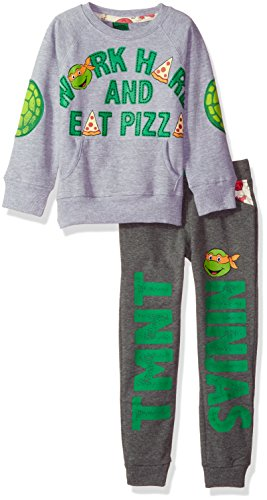 Nickelodeon Toddler Boys TMNT Work Hard and Eat Pizza Jogger Set, Grey, 2T