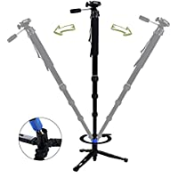 DIGIANT MP-3606 Professional Camera Monopod 70 Telescoping DSLR Monopods with Removable Camera Tripod Base 3-way Fluid Pan-Head , Include Carrying Bag