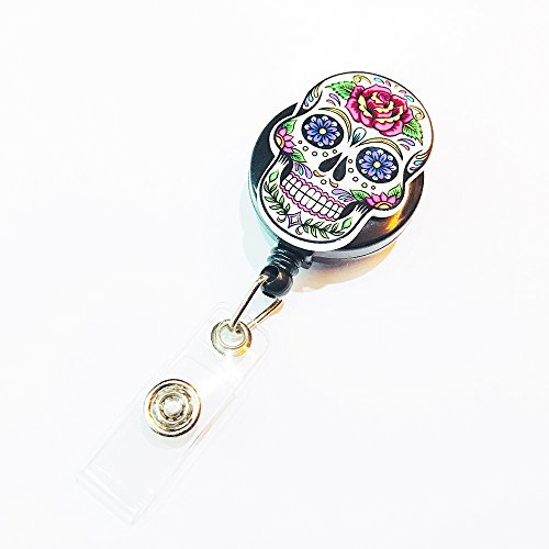 Skull Flora Ecstacy Decorated Retractable Badge Reel ID Holder with Clip Backing -