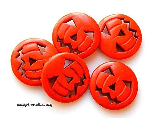 10 Orange Magnesite 30mm Jack O Lantern Carved