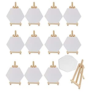 S & E TEACHER'S EDITION 72 Pcs Mini Canvas Panels & Easel Set, 60 Mini Canvas Panels & 12 Mini Easels, for ainting Craft Drawing.