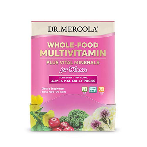 Dr. Mercola Whole-Food Multivitamin Daily Packs for Women, 30 Servings (240 Tablets), Non GMO, Gluten Free, Soy Free