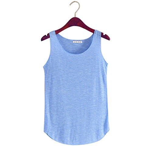 Adeshop girocollo Maglietta Sport Summer unita allentata senza tinta Solid Donna Canotta maniche Maglietta Blu 4rU4wx