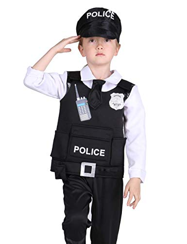 Familus Unisex Police Costume for Kids with Deluxe Cop Accessory Gift Black -