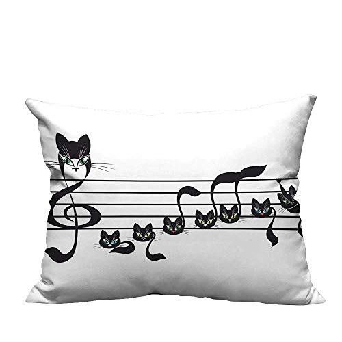 YouXianHome Sofa Waist Cushion Cover Notes Kittens Cat Artwork Notation Tune Children Halloween Style Pattern Black Decorative for Kids Adults(Double-Sided Printing) 20x35.5 -