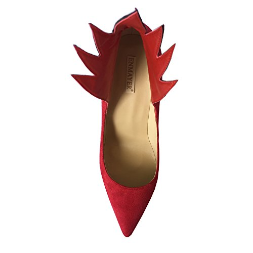 ENMAYER Womens Sude Pointed Toe High Heels Angel Wing Winged Classic Dancing Stiletto Pumps Shallow Shoes Red BVrTR74evM