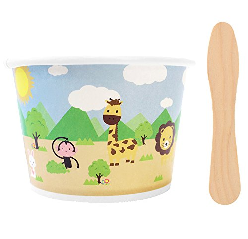 [ Momoka's Apron ] 48 ct Ice Cream Paper Cups (8 oz) with Wooden Ice Cream Paddle Spoons (Animals)