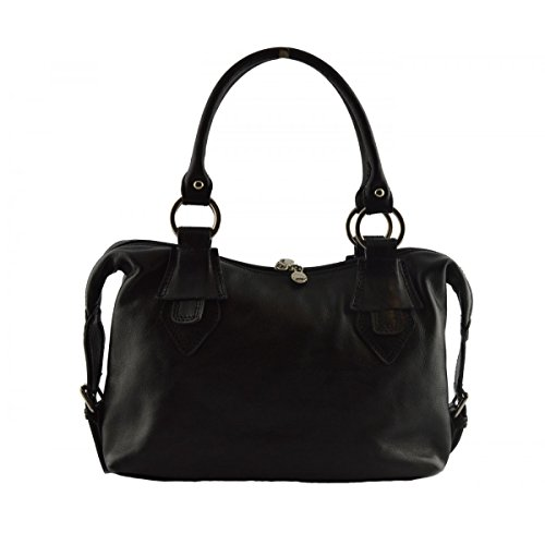 Borsa Donna A Mano In Pelle Colore Nero - Pelletteria Toscana Made In Italy - Borsa Donna