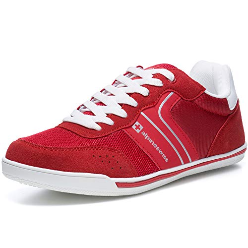 alpine swiss Liam Mens Fashion Sneakers Suede Trim Low Top Lace Up Tennis Shoes RED 13 M US