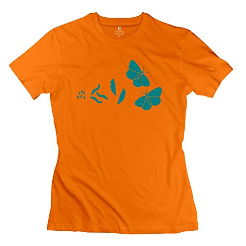 Woman's T-Shirts New Design Butterfly Evolution Tshirts Orange Size XL