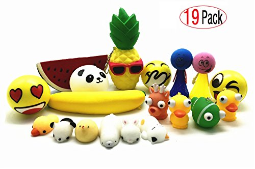 Jumper Keychain (EDsports Hand Squeeze Toys Bundle(19 Pack)-4 Soft Slow Rising Fruit Squishies,3 Smile Face Puffer Squeeze Balls,2 Mesh jumper,4 Raised Eyes Animal Keychain,6 Cute Squishy Cats -Stress Relax Toys Set)