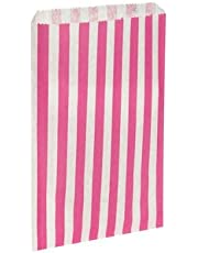 100 x Pink & White Candy Stripe / Striped Paper Sweet Party Bags - 5 x 7 by Swoosh Supplies