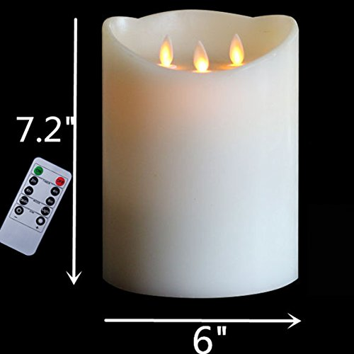 H7.2'' 3-Wicks Timer Remote Battery Operated Big Decorative Candle ,3D Dancing flame Pillar Wax Candle (Wholesale Primitive Halloween Decor)