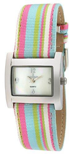 Peugeot Women's 3016PK Silver-Tone Canvas Ribbon Strap Watch