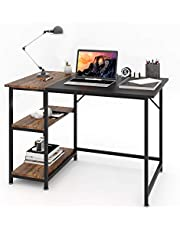 """Home Office Desk, POWAITER Computer Desk 39"""" Study Writing Table, Latop Table, Modern Simple PC Desk with Splice Board, Rustic Brown and Black"""
