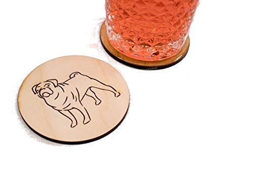 Pug Coaster (Unfinished Pug Coasters - Set of 4 Handmade Engraved 3.5