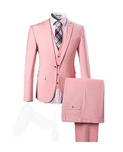 Cloudstyle Haut de qualité affaires mariage-trois pièces-costume homme rose