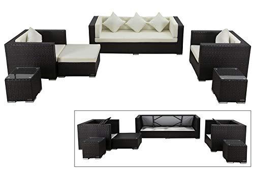 OUTFLEXX Exklusives XL Lounge-Set aus hochwertigem Polyrattan in braun, 3-Sitzersofa, 2 Sessel, 1 Hocker, inkl. Kissenpolster, 2 kleine Beistelltische, für 7 Personen, Kissenboxfunktion, wetterfest