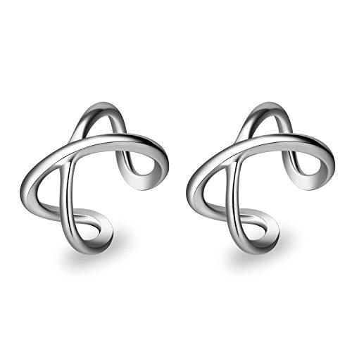 YFN Cuff Wrap Clip Earring 925 Sterling Silver Non Pierced Ear Cartilage Clip Earrings for Women Girl (Cuff Clip Earring)
