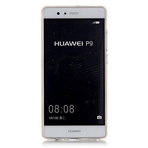 mokyo Huawei P9móvil, ultrafina suave transparente TPU Gel Carcasa Antigolpes de silicona Funda con [libre Stylus Lápiz] Niedlich Caricatura patrón, antiarañazos de goma resistente a los arañazos Rub pingüino