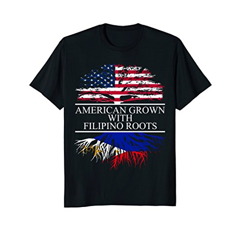 Filipino Roots, American Grown, Flag of Philippines T-Shirt