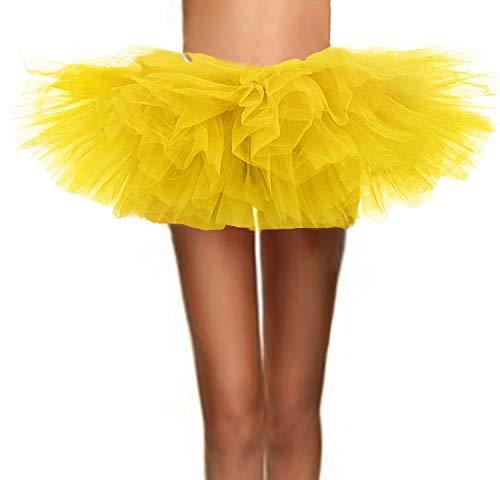 ASSN Women's Classic 80s Mini Puffy Tutu Halloween Run Bubble Ballet Skirt 6-Layered Yellow Plus -