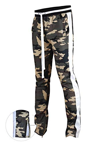 (SCREENSHOTBRAND-P41902 Mens Hip Hop Premium Slim Fit Track Pants - Athletic Jogger Camo Pattern Print Taping Bottoms-Woodland-Small)