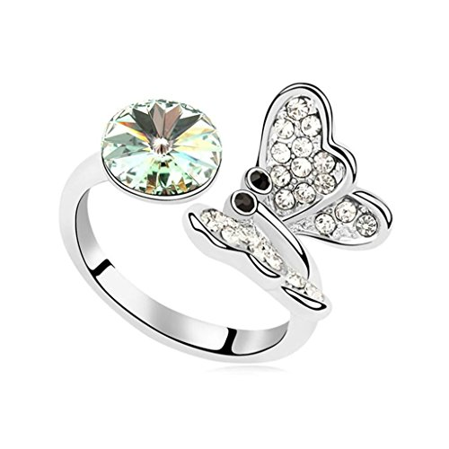Epinki Gold Plated Ring, Womens Wedding Bands Olive Butterfly Double Crystal Ring Size ()
