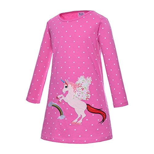 Jersey Dot Pink Cotton (Toddler Girl Casual Dresses Clothes - Lovely Cartoon Unicorn Applique Polka Dots Pink Jersey Cotton Long Sleeve Holiday Dress Up Costume for Little Princess Birthday Party Size 4t 5t 5(M) 4~5 Years)
