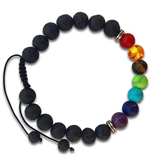 7 Chakras Real Lava Stone Bracelet for Women and Men - Helps Balance Your Chakras - Healing, Yoga, Meditation, Grounding, Self Confidence, Energy and Protection (Braded)