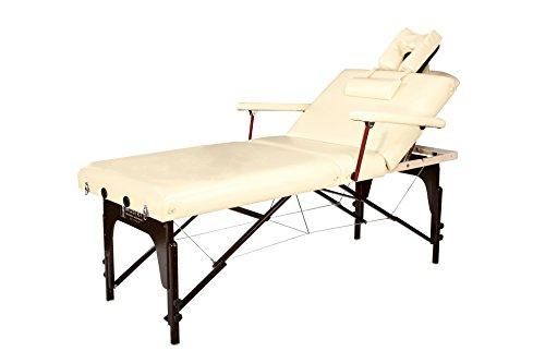 (Master Massage 31'' Samson Salon Lx Lift-Back Memory Foam Portable Massage Table Package, Cream)