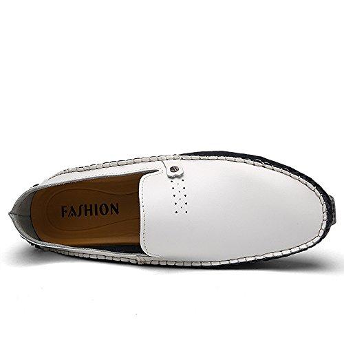 Opuman hombres de piel de vaca de cuero mocasines antideslizante cómodo conducción zapatos Blanco