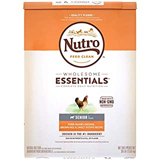 NUTRO WHOLESOME ESSENTIALS Senior Natural Dry Dog Food Farm-Raised Chicken, Brown Rice & Sweet Potato Recipe, 30 lb. Bag