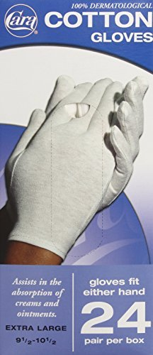 CARA Dermatological Cotton Gloves, Extra Large, 24 Pair by Cara by CARA