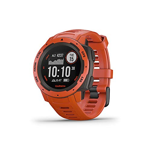 Garmin Instinct, Rugged Outdoor Watch with GPS, Features GLONASS and Galileo, Heart Rate Monitoring and 3-Axis Compass, Red