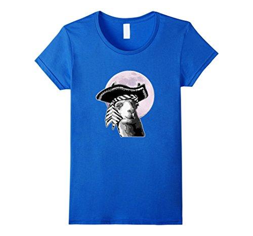Llama In Halloween Costume (Womens Llama in Pirate Costume Halloween Shirt Large Royal Blue)