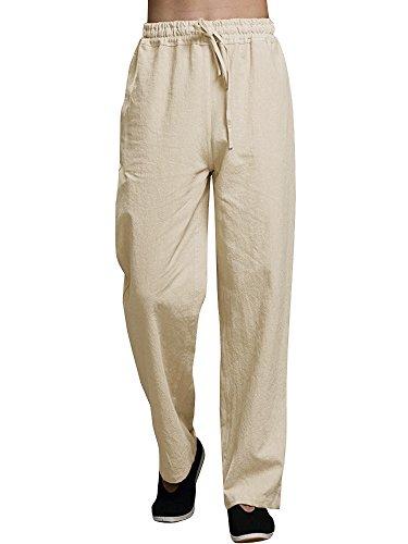 (Enjoybuy Mens Summer Cotton Linen Long Casual Pants Elastic Waist Loose Fit Beach Pants (Medium, 02-Khaki))