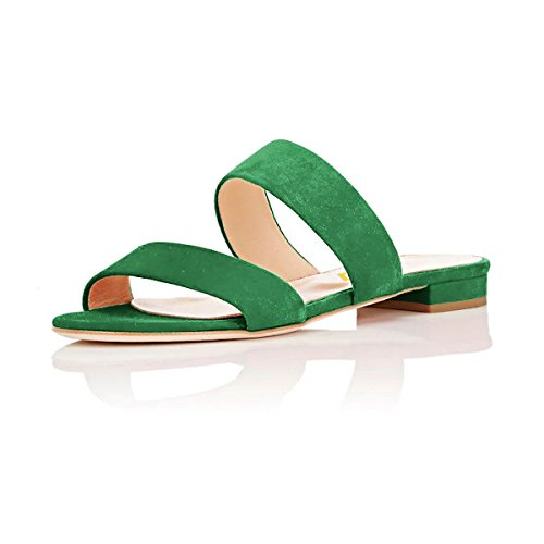 FSJ Low On Open Toe Slide Green US 4 Sandals Mules Flats Women Heeled Straps Shoes Slip Double 15 Size r14qrwHYR