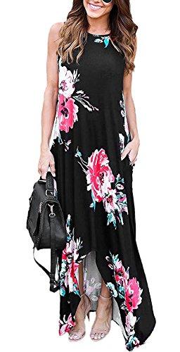 Aro Lora Sans Manches Imprimé Floral Col Rond Femmes Longues Maxi Robe Casual Noir