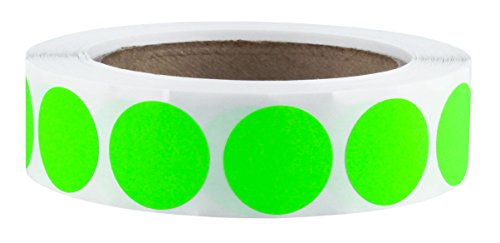 "1"" Fluorescent Green Color-Code Dot Labels on Cores - Permanent Adhesive, 1.00 inch - 1,000 Stickers per Roll"