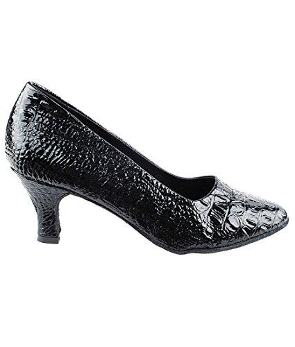 Veldig Fine Ballroom Latin Tango Salsa Dans Sko For Kvinner Sera5513 2,5-tommers Hæl + Sammenleggbar Børste Bunt Svart Croc