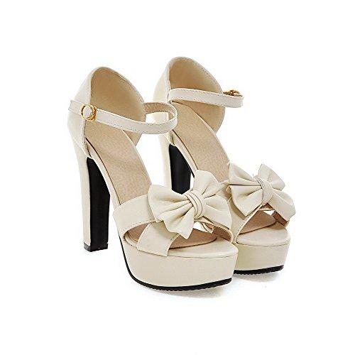 Pu Buckle Sandals Open Solid Heels Toe Women's AgooLar Beige High YFnq1p8