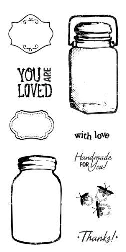 Fiskars 4x8 inch clear stamps, vintage jars