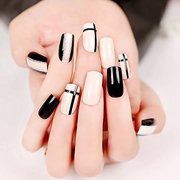 yunail 24pcs Cruz y línea uñas postizas negro blanco largo cuadrado Full diseño de Artificial uñas consejos con 1pc pegamento adhesivo: Amazon.es: Belleza