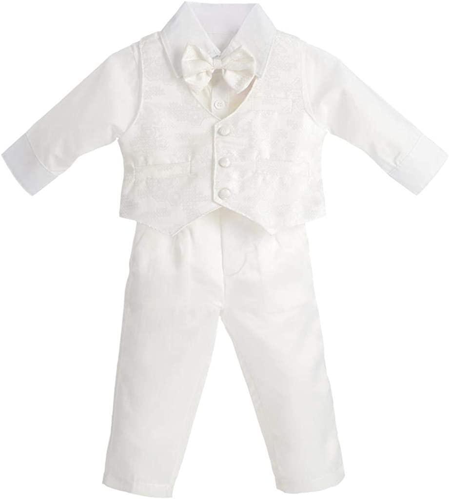 Dressy Daisy Baby Boy Suit Gentleman Wedding Outfit 4 Piece Formal Dress Wear Floral Ivory