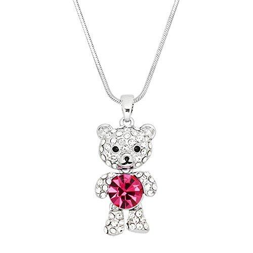 Falari Teddy Bear Pendant Necklace Rhinestone Crystal Rhodium High Polished J0495-PK