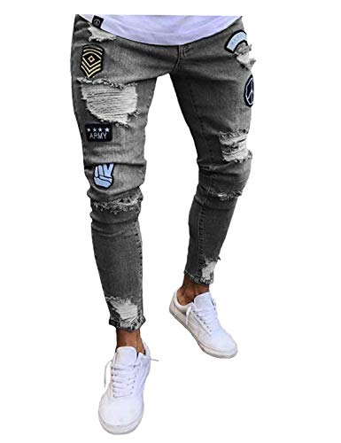 Distrutti Grau Jeans Con Uomo Pantaloni Da Estilo Casual Di Vintage Moda Cerniera Denim Strappati Especial wq1IEA6T