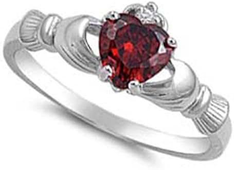 NATURAL GEMSTONE 9MM 2ctw Sterling Silver JANUARY RED GARNET HEART BIRTHSTONE Claddagh Irish Ring 2-13