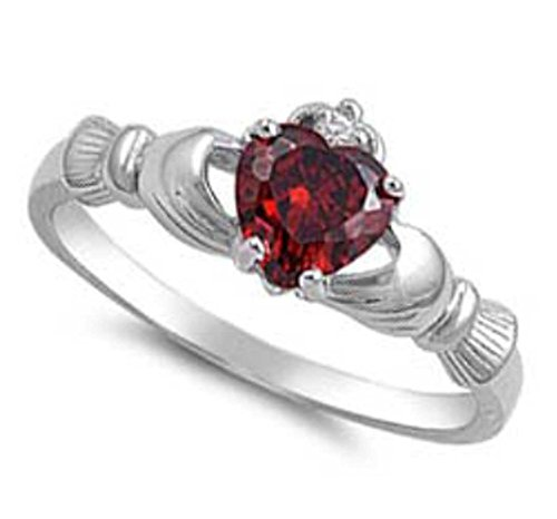 NATURAL GENUINE - 9MM 2ctw Sterling Silver JANUARY RED GARNET HEART BIRTHSTONE Claddagh Irish Ring 2-13 (.925 Italian Sterling Silver, 8)